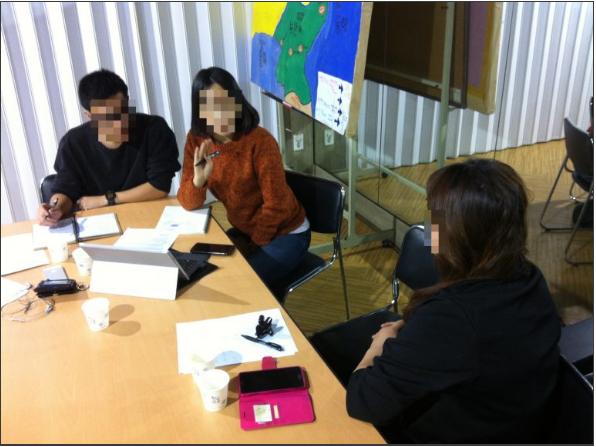 Interview dans les bureaux de PSCORE avec un groupe qui voulait contacter des réfugiés Nord-Coréens.